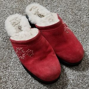 UGG Crimson Red Suede Leather Sheepskin Mule Clogs